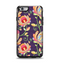 The Dark Purple & Colorful Floral Pattern Apple iPhone 6 Otterbox Symmetry Case Skin Set