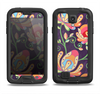 The Dark Purple & Colorful Floral Pattern Samsung Galaxy S4 LifeProof Fre Case Skin Set