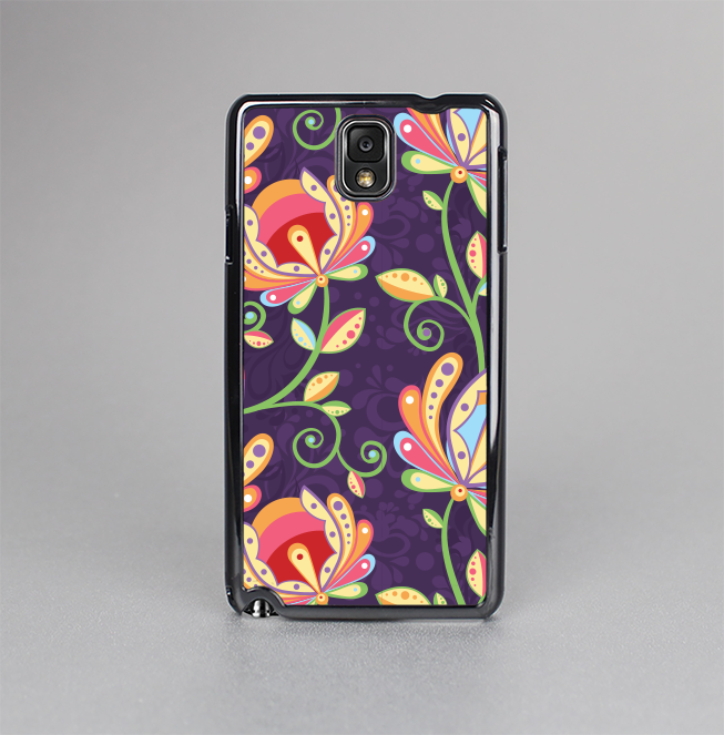 The Dark Purple & Colorful Floral Pattern Skin-Sert Case for the Samsung Galaxy Note 3