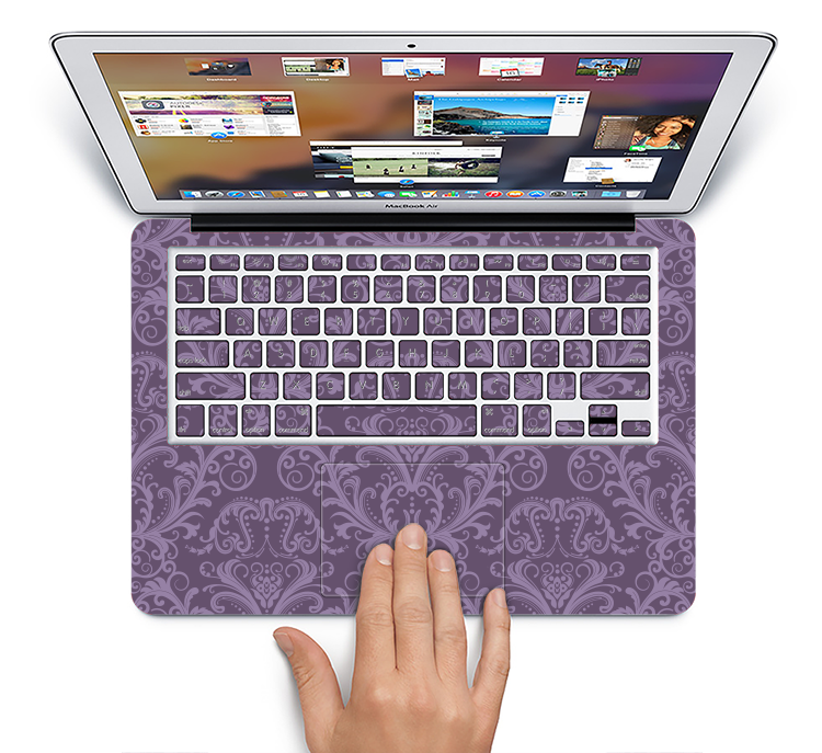 "The Dark Purple Delicate Pattern Skin Set for the Apple MacBook Pro 15"" with Retina Display"