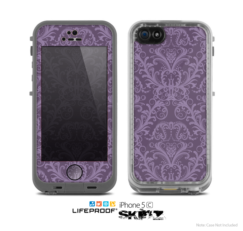 The Dark Purple Delicate Pattern Skin for the Apple iPhone 5c LifeProof Case