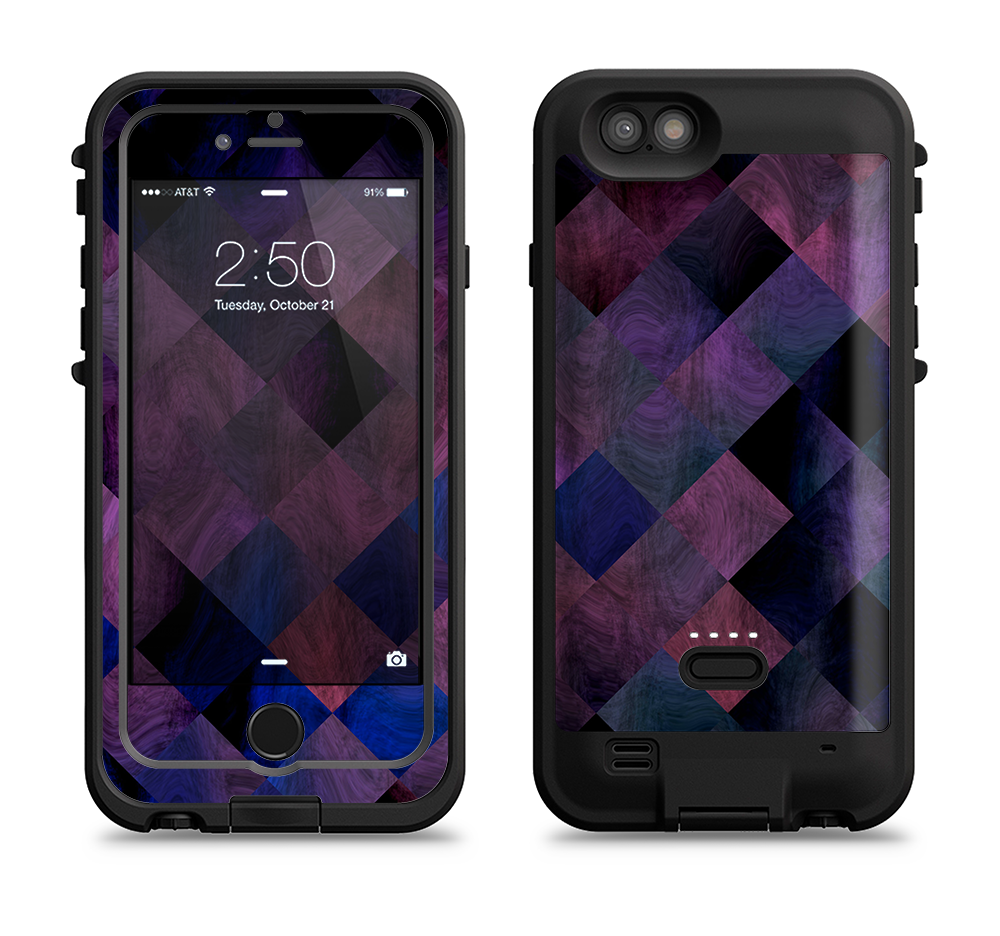 timeless design fc80e 4a3b1 The Dark Purple Highlighted Tile Pattern iPhone 6/6s Plus LifeProof Fre  POWER Case Skin Kit