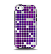 The Dark Purple Squares Pattern Apple iPhone 5c Otterbox Symmetry Case Skin Set