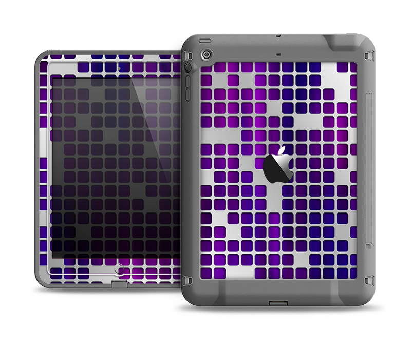 The Dark Purple Squares Pattern Apple iPad Air LifeProof Fre Case Skin Set