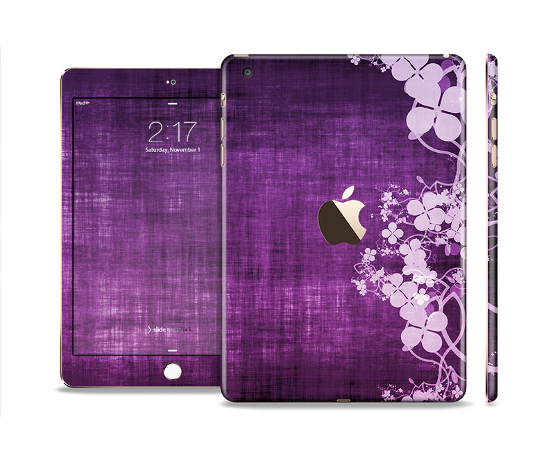 The Dark Purple with Sketched Floral Pattern Full Body Skin Set for the Apple iPad Mini 3