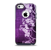 The Dark Purple with Sketched Floral Pattern Skin for the iPhone 5c OtterBox Commuter Case
