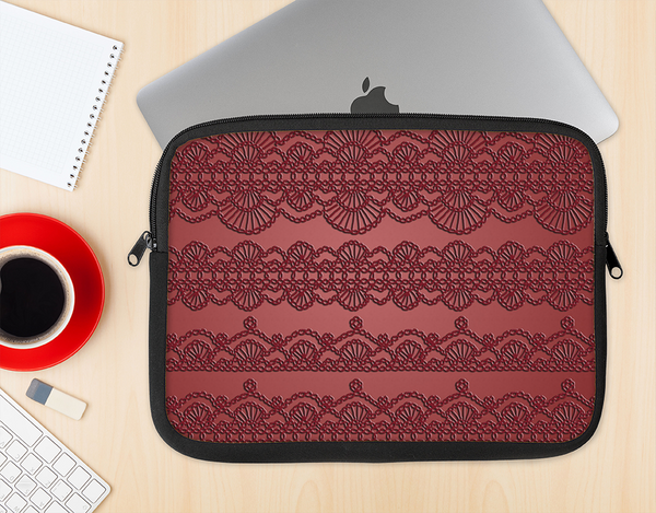 The Dark Red Highlighted Lace Pattern Ink-Fuzed NeoPrene MacBook Laptop Sleeve