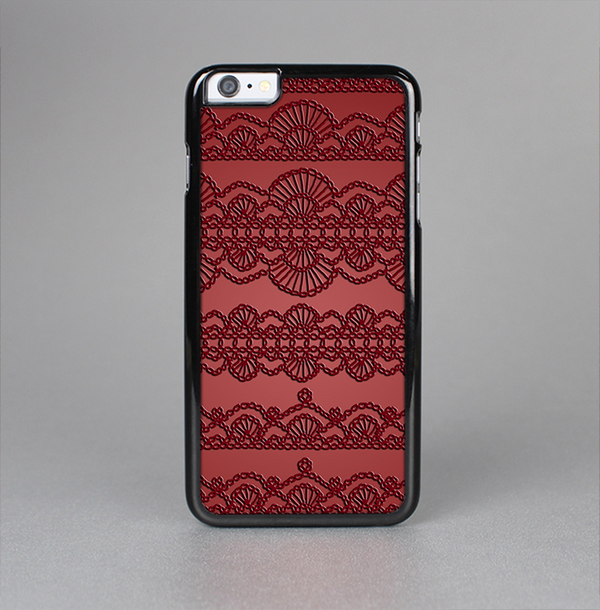 The Dark Red Highlighted Lace Pattern Skin-Sert Case for the Apple iPhone 6 Plus