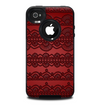 The Dark Red Highlighted Lace Pattern Skin for the iPhone 4-4s OtterBox Commuter Case