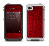 The Dark Red Spiral Pattern V23 Apple iPhone 4-4s LifeProof Fre Case Skin Set