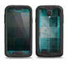 The Dark Teal Tiled Pattern V2 Samsung Galaxy S4 LifeProof Fre Case Skin Set