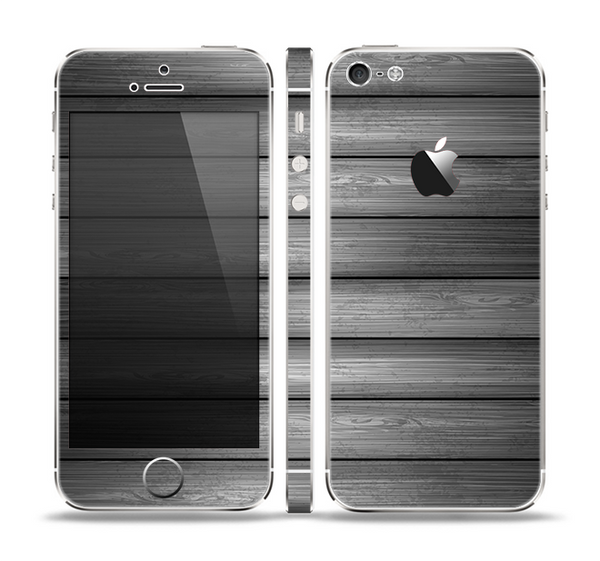 The Dark Vector Horizontal Wood Planks Skin Set for the Apple iPhone 5