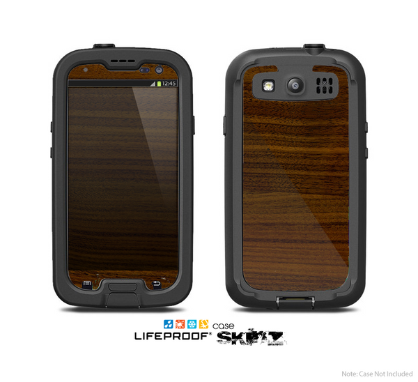 The Dark Walnut Wood Skin For The Samsung Galaxy S3 LifeProof Case