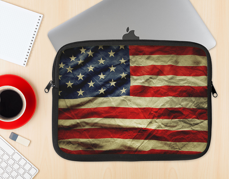 The Dark Wrinkled American Flag Ink-Fuzed NeoPrene MacBook Laptop Sleeve