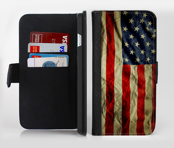 The Dark Wrinkled American Flag Ink-Fuzed Leather Folding Wallet Credit-Card Case for the Apple iPhone 6/6s, 6/6s Plus, 5/5s and 5c