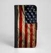 The Dark Wrinkled American Flag Ink-Fuzed Leather Folding Wallet Case for the iPhone 6/6s, 6/6s Plus, 5/5s and 5c
