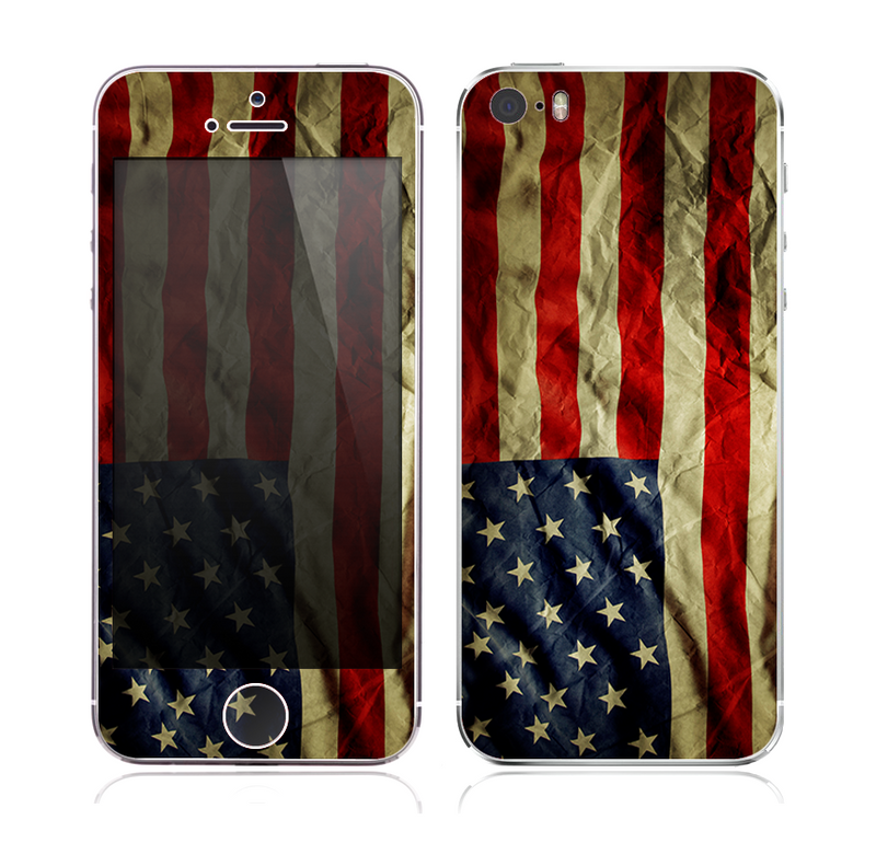 The Dark Wrinkled American Flag Skin for the Apple iPhone 5s