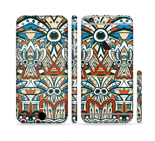 The Decorative Blue & Red Aztec Pattern Sectioned Skin Series for the Apple iPhone 6 Plus