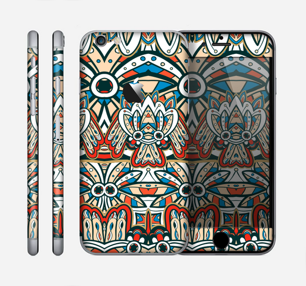 The Decorative Blue & Red Aztec Pattern Skin for the Apple iPhone 6