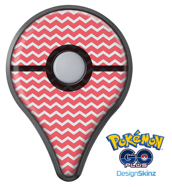 The Deep Pink and White Chevron Pattern Pokémon GO Plus Vinyl Protective Decal Skin Kit