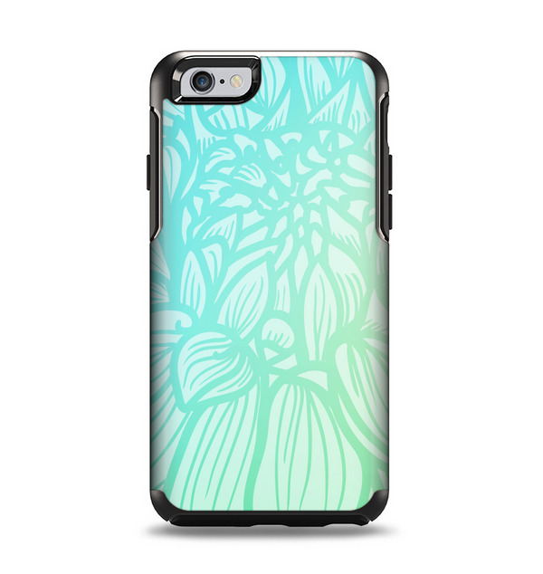 The Faded Blue & Green Subtle Floral Apple iPhone 6 Otterbox Symmetry Case Skin Set
