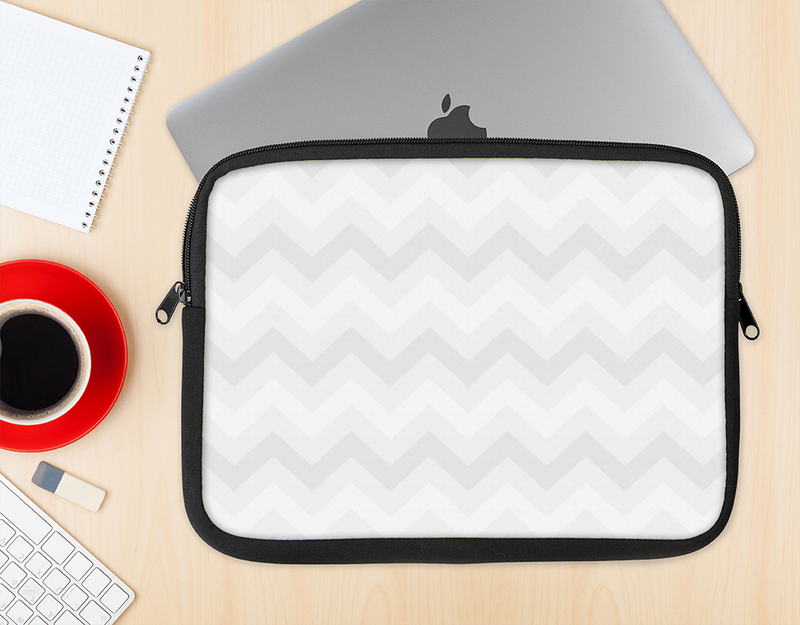 The Faded White Zigzag Chevron Pattern Ink-Fuzed NeoPrene MacBook Laptop Sleeve