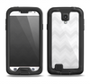 The Faded White Zigzag Chevron Pattern Samsung Galaxy S4 LifeProof Nuud Case Skin Set