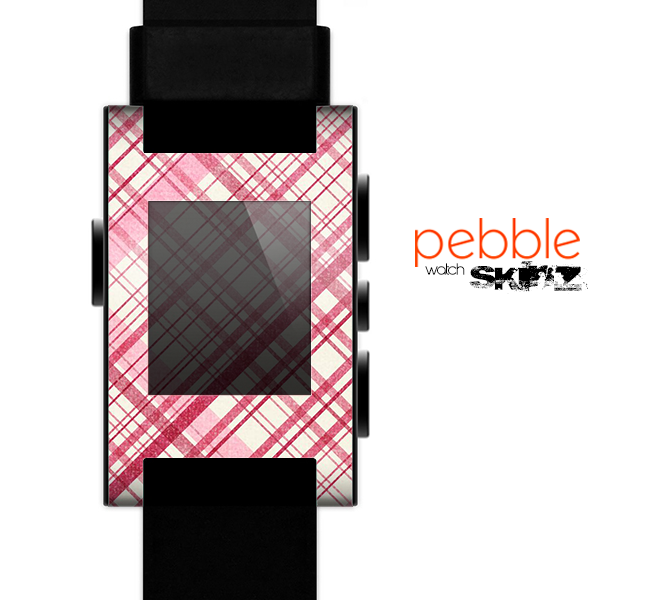 The Fancy Pink Vintage Plaid Skin for the Pebble SmartWatch