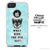 What Does The Fox Say Navy Blue Swirly Subtle Skin For The iPhone 4-4s or 5-5s Otterbox Commuter Case
