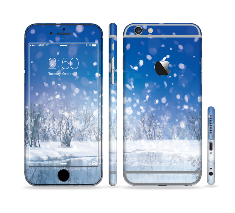 The Frozen Snowfall Pond Sectioned Skin Series for the Apple iPhone 6s