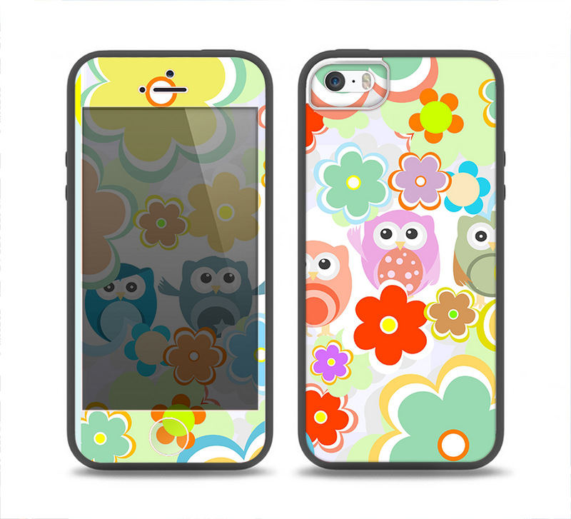 The Fun-Colored Cartoon Owls Skin Set for the iPhone 5-5s Skech Glow Case