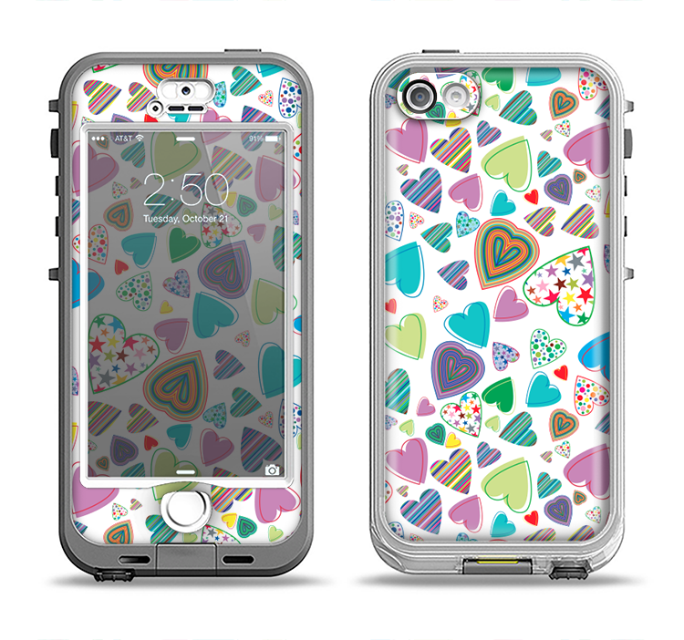 The Fun-Colored Pattern Hearts Apple iPhone 5-5s LifeProof Nuud Case Skin Set