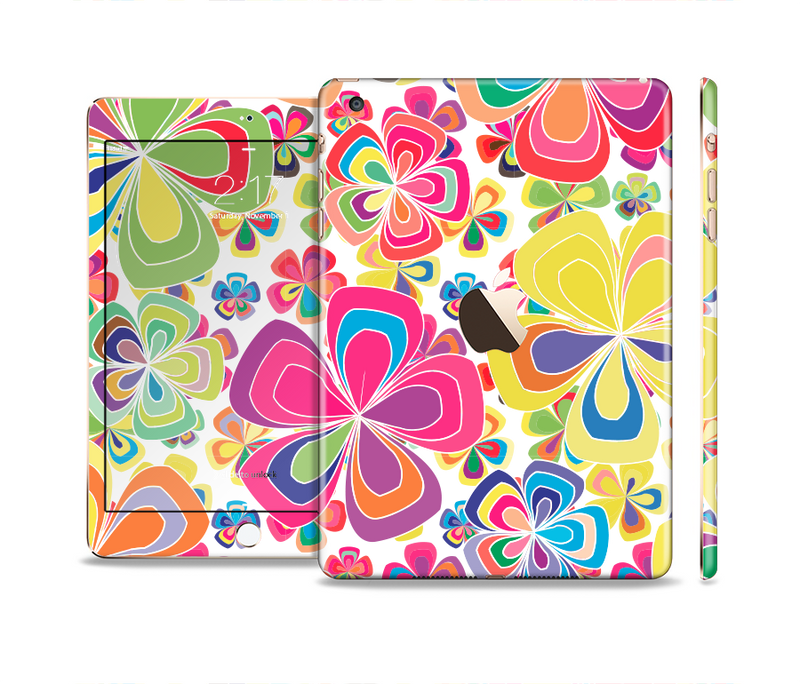 The Fun Colored Vector Flower Petals Full Body Skin Set for the Apple iPad Mini 3