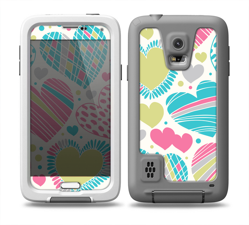 The Fun Colored Vector Pattern Hearts Skin for the Samsung Galaxy S5 frē LifeProof Case