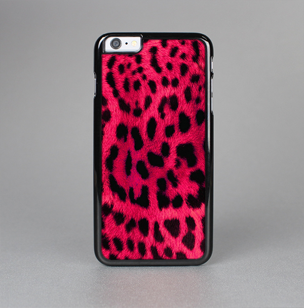 The Fuzzy Real Pink Leopard Print Skin-Sert Case for the Apple iPhone 6 Plus