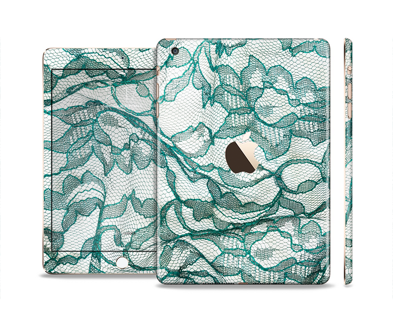 The Gentle Green Wrinkled Lace Full Body Skin Set for the Apple iPad Mini 3