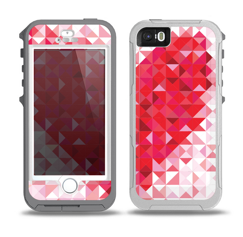 The Geometric Faded Red Heart Skin for the iPhone 5-5s OtterBox Preserver WaterProof Case