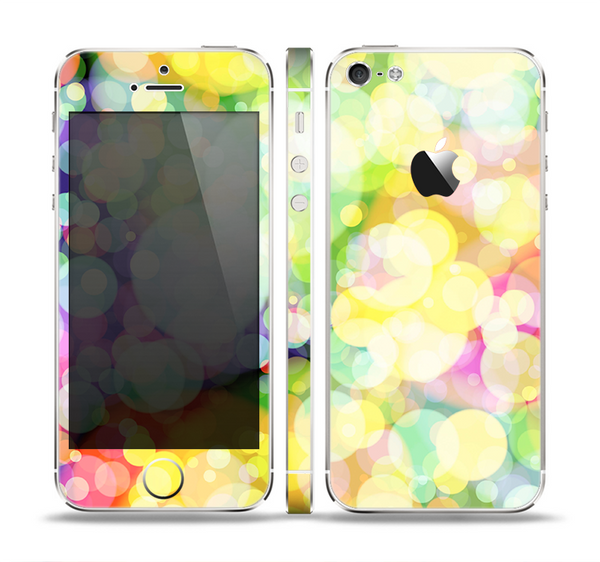 The Glistening Colorful Unfocused Circle Space Skin Set for the Apple iPhone 5