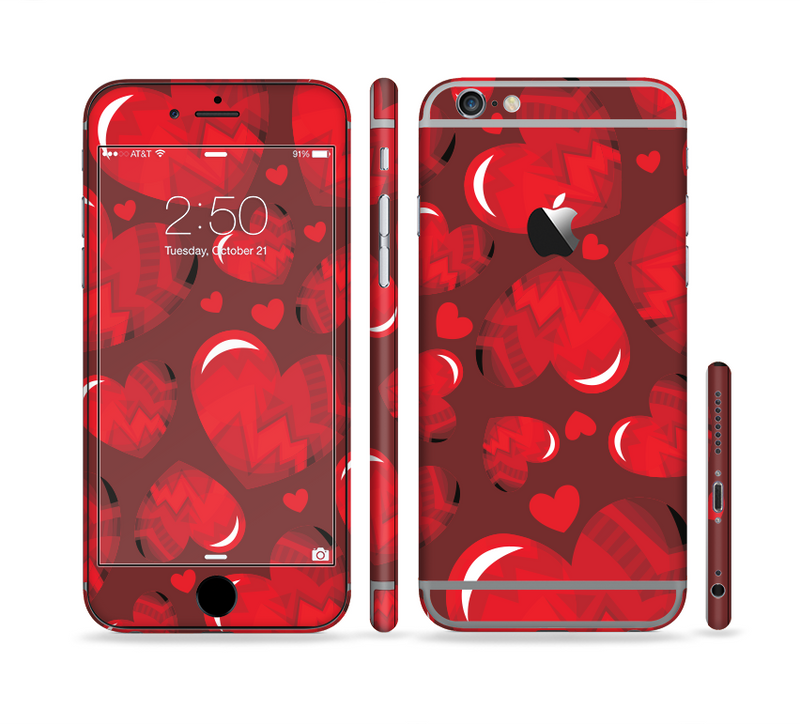 The Glossy Electric Hearts Sectioned Skin Series for the Apple iPhone 6s