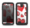 The Glossy Red 3D Love Hearts Samsung Galaxy S4 LifeProof Fre Case Skin Set