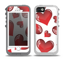 The Glossy Red 3D Love Hearts Skin for the iPhone 5-5s OtterBox Preserver WaterProof Case