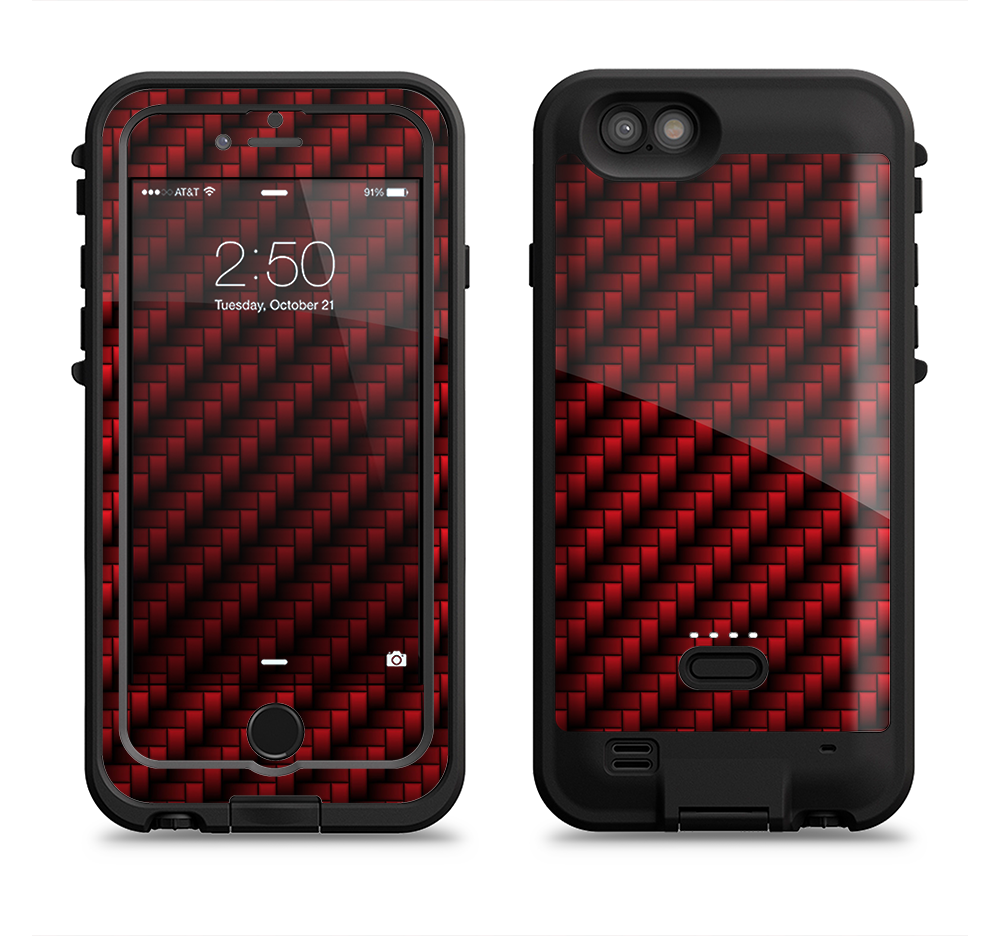 the glossy red carbon fiber iPhone 6 6s Plus LifeProof Fre POWER Case Skin  Kit 776de5522