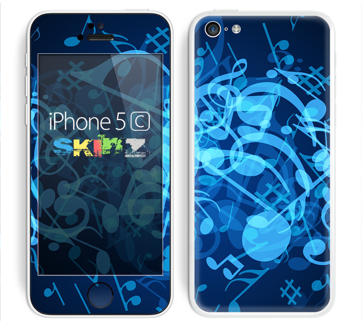 The Glowing Blue Music Notes Skin for the Apple iPhone 5c