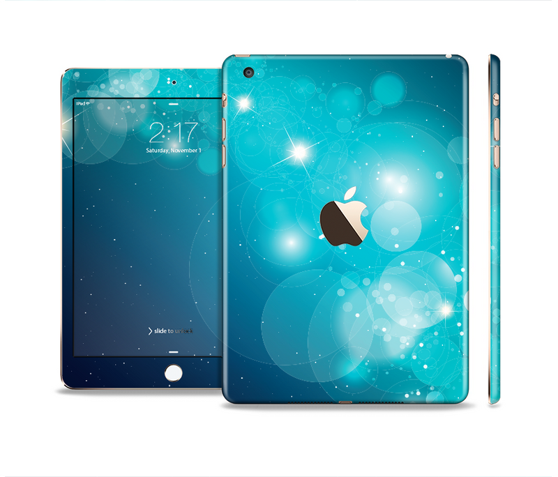 The Glowing Blue & Teal Translucent Circles Full Body Skin Set for the Apple iPad Mini 3