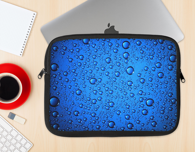 The Glowing Blue Vivid RainDrops Ink-Fuzed NeoPrene MacBook Laptop Sleeve