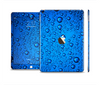 The Glowing Blue Vivid RainDrops Skin Set for the Apple iPad Pro