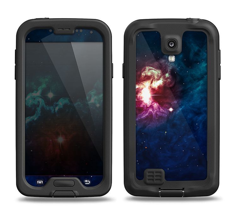 The Glowing Colorful Space Scene Samsung Galaxy S4 LifeProof Fre Case Skin Set