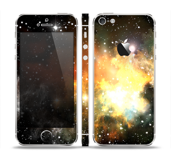 The Glowing Gold & Black Nebula Skin Set for the Apple iPhone 5