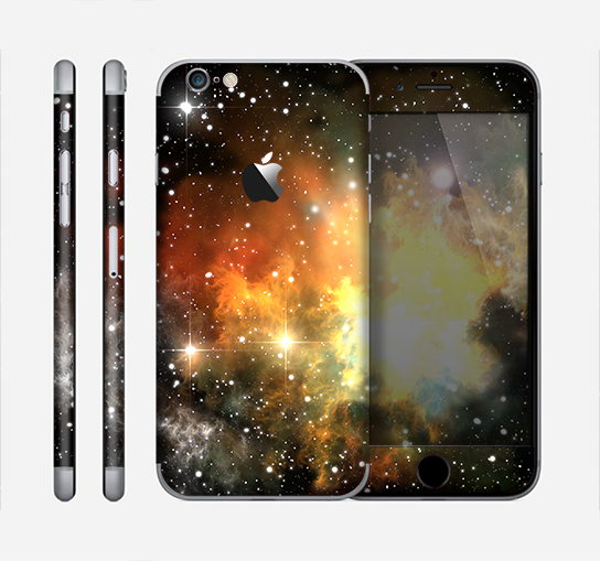 The Glowing Gold & Black Nebula Skin for the Apple iPhone 6