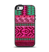 The Glowing Green & Pink Ethnic Aztec Pattern Apple iPhone 5-5s Otterbox Symmetry Case Skin Set